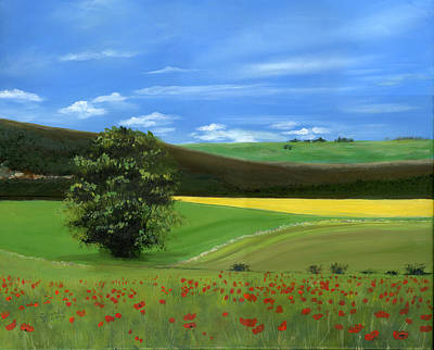 Poppies Field Painting - Tuscan Tree With Poppy Field by Cecilia Brendel