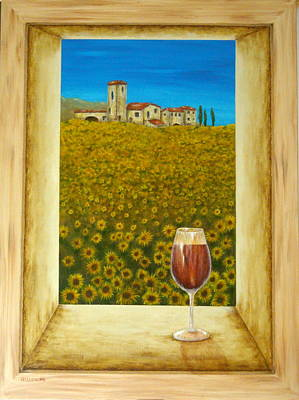 Italian Landscapes Painting - Tuscan View by Pamela Allegretto