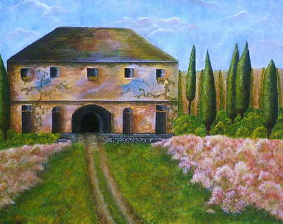 Tuscan Hills Painting - Tuscan Villa by Tamyra Crossley