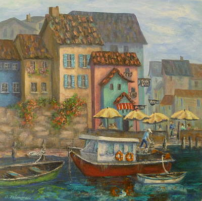 Tuscan Village Boat Paintings Art Print
