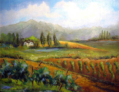 Tuscany Vineyard Oil Painting - Tuscan Vineyard by Alexandra Kopp