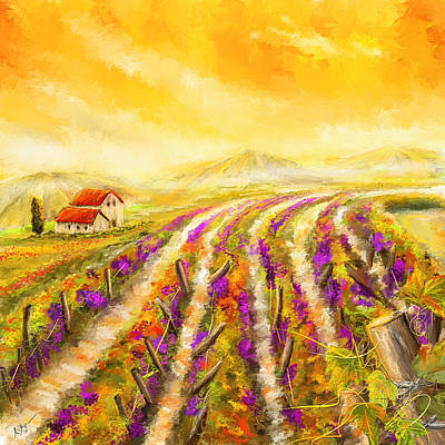Tuscan Vineyard Sunset - Vineyard Impressionist Paintings Print by Lourry Legarde