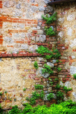 Photograph - Tuscan Wall Textures by Bob Coates