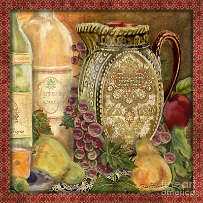 Tuscan Wine-d Art Print by Jean Plout
