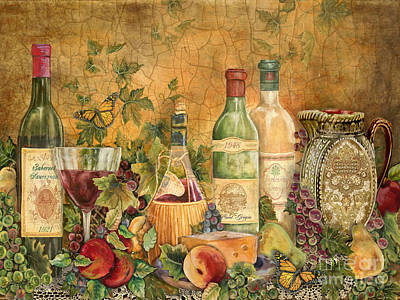 Wine Bottle Painting - Tuscan Wine Treasures by Jean Plout