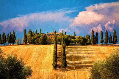 Tuscany Art Mixed Media - Tuscany Estate by Garland Johnson