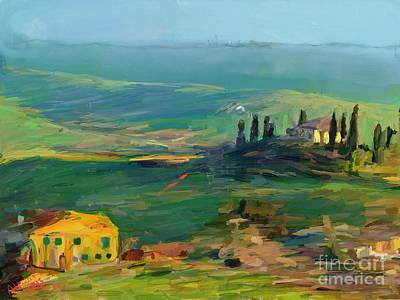 Tuscan Digital Art - Tuscany II by Arne Hansen