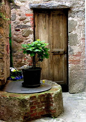 Photograph - Tuscany Italy - Door And Candle by Jacqueline M Lewis