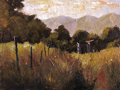 Tuscan Sunset Painting - Tuscany Italy Walking To The Rose Field II by Christopher Clark