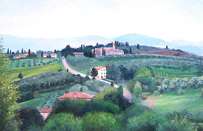 Villa Painting - Tuscany Landscape by Jan Matson