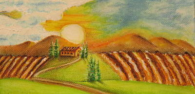 Villa Mixed Media - Tuscany Landscape by Paul Schoenig