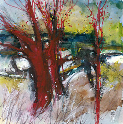 Tuscany Landscape With Red Tree Art Print by Alessandro Andreuccetti