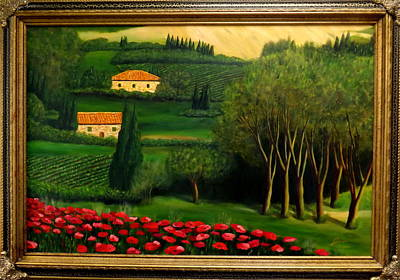 Tuscany Vineyard Oil Painting - Tuscany Poppies In A Villa Countryside by Gino Didio