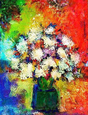 Digital Art - Flowers's In A Green Vase by Sandra Selle Rodriguez