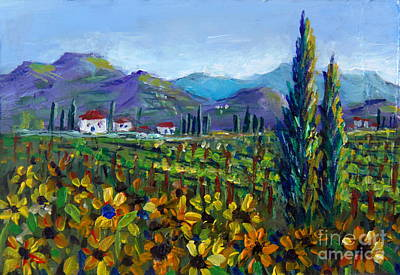 Painting - Tuscany Sunflowers Miniature by Lou Ann Bagnall