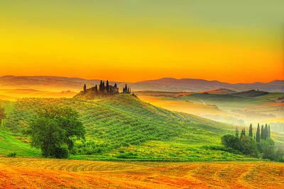 Vineyards Photograph - Tuscany Sunrise by Midori Chan