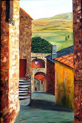 Tuscany Vineyard Oil Painting - Tuscany Village by Gino Didio