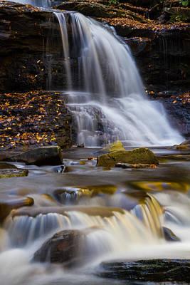 Tuscarora Falls At Ricketts Glen In Autumn Print by Jetson Nguyen