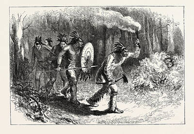 Tuscaroras Indians Tracking Fugitives Print by American School