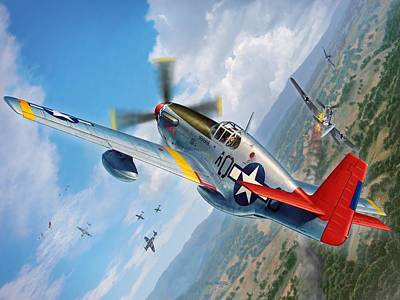 Aircraft Digital Art - Tuskegee Airmen P-51 Mustang by Stu Shepherd