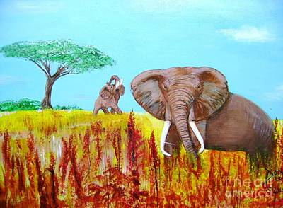Art Print featuring the painting Tusks2 by Donna Dixon