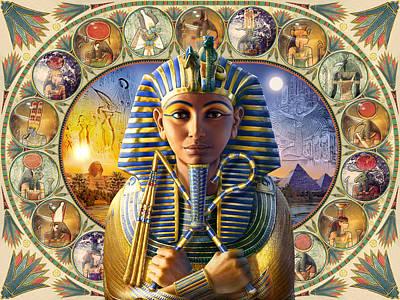 Tutankhamun Landscape Print by Andrew Farley