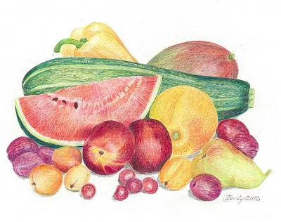 Mango Drawing - Tutti Frutti by Eve-Ly Villberg