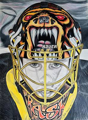 Boston Bruins Drawing - Tuukka Time by Jennifer Urciuolo
