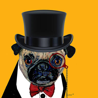 Painting - Tux Pug by Dale Moses