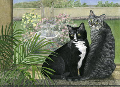 Painting - Tuxedo And Tabby by Terry Albert