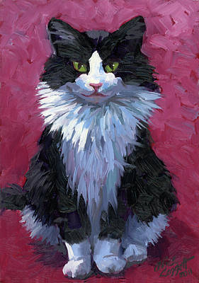 Black And White Cat Painting - Tuxedo Cat by Alice Leggett