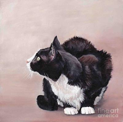 Tuxedo Cat Bird Watcher Art Print by Charlotte Yealey