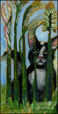 Tuxedo Cat In The Cat Tails. I'm Not Here.  Original by Cathy Peterson