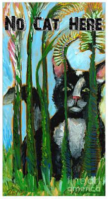 Tuxedo Cat In The Cat Tails. No Cat Here.  Sign Original