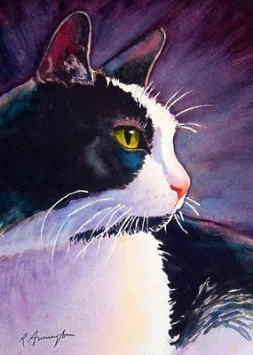 Tuxedo Cat Named Stormy Art Print by Rachel Armington