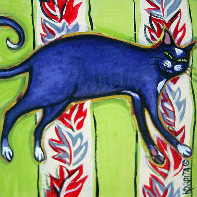 Painting - Tuxedo Cat On A Cushion by Rebecca Korpita