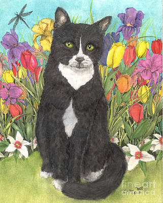 Daffodils Painting - Tuxedo Cat Spring Flowers Feline Animal Pets Art by Cathy Peek