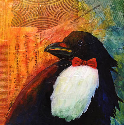 Painting - Tuxedo Crow by Kerrie  Hubbard