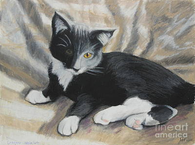 Animal Portrait Painting - Tuxedo Kitten by Jeanne Fischer