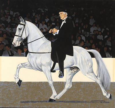 Show Horse Painting - White Walking Horse In Show by Don  Langeneckert