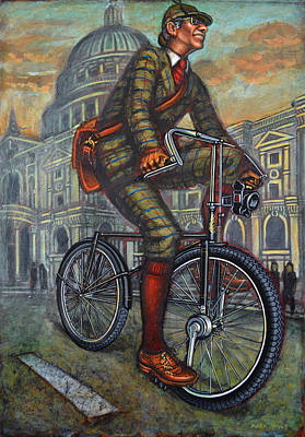 Bob On His Bantam St Pauls London Art Print