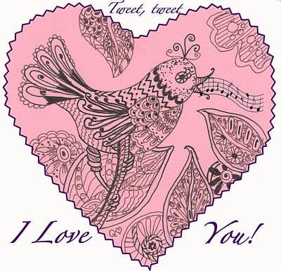 Drawing - Tweet I Love You by Quwatha Valentine