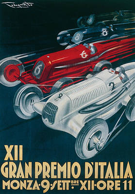 Car Drawing - Twelfth Italian Grand Prix At Monza by Plinio Codognato