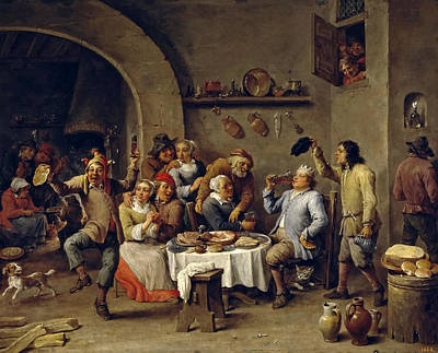 Twelfth Painting - Twelfth-night. The King Drinks by David Teniers the Younger