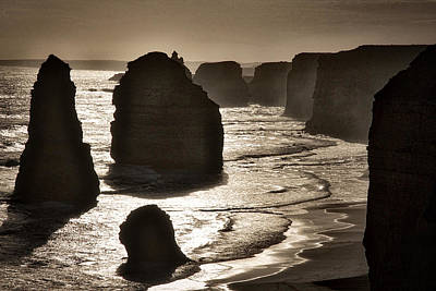 Photograph - Twelve Apostles #3 - Black And White by Stuart Litoff