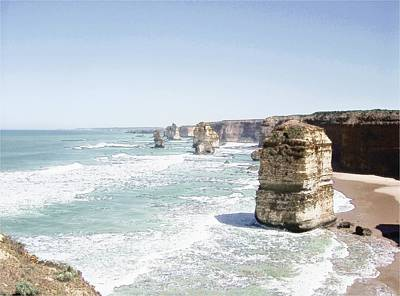 Landscape Drawing - Twelve Apostles Drawing by Andrew Hunt