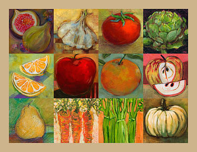 Healthy Eating Painting - Twelve Colorful Foods Collage by Jen Norton