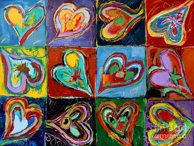 Painting - Twelve Dancing Hearts by Kelly Athena