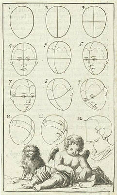 Human Head Drawing - Twelve Heads In Different Positions, Labeled 1-12 by Jan Luyken And Willem Goeree
