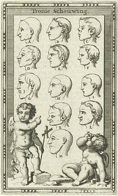 Human Head Drawing - Twelve Heads, Marked A-m by Jan Luyken And Willem Goeree